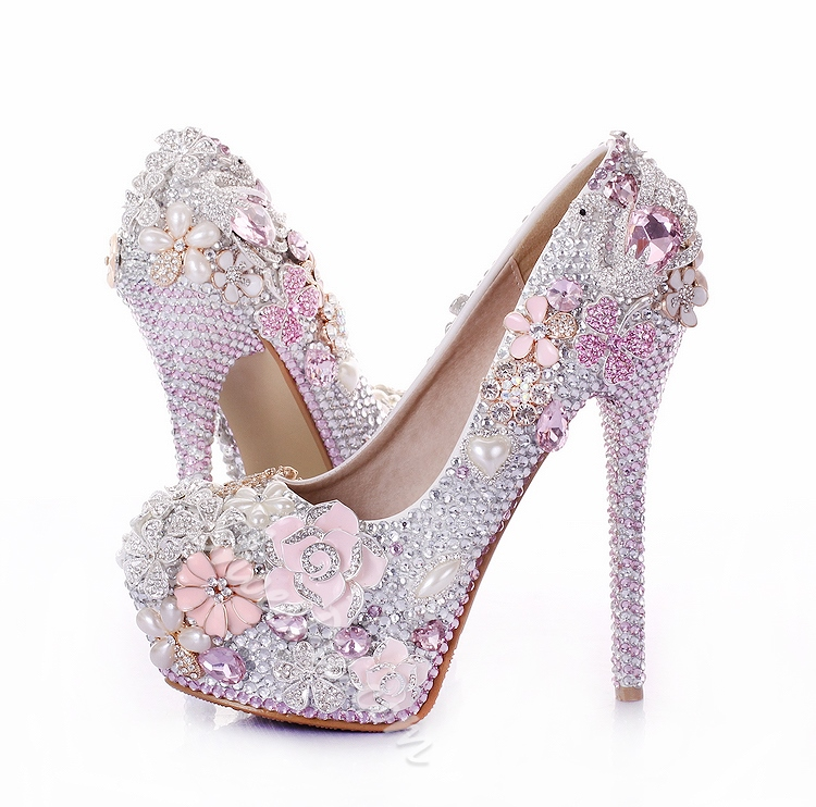 Shoespie Pink Rhinestone Round-toe Bridal Shoes