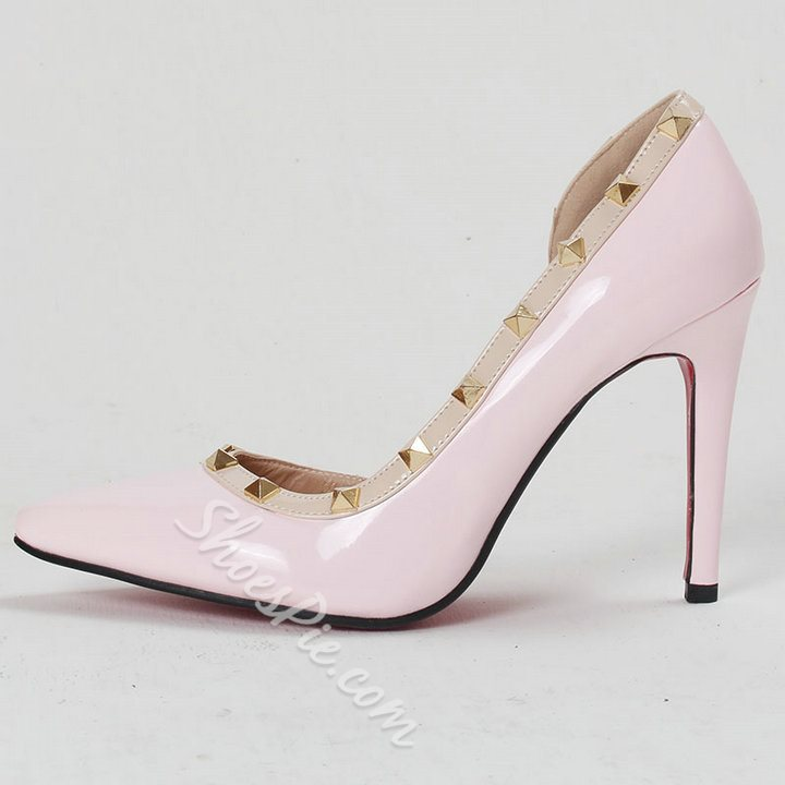 Shoespie Side Rivets Decorated Stiletto Heels