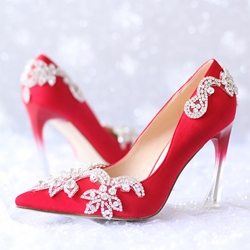 Shoespie Rhinestone Pointed-toe Bridal Shoes
