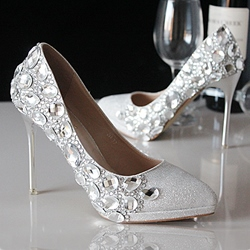 Shoespie Rhinestone Stiletto Heel Bridal Shoes