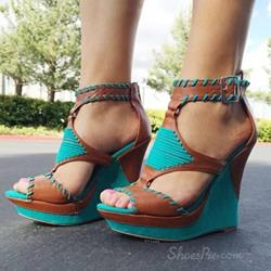 Handmade Coppy Leather Wedge Sandals