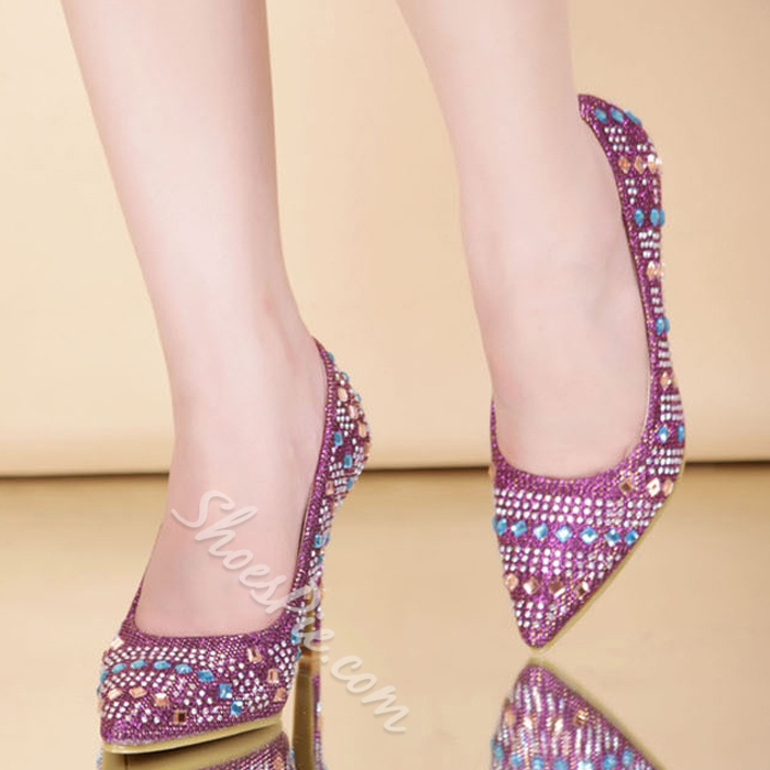 Shoespie Colorful Rhinestone Decorated Pointed-toe Stiletto Heels