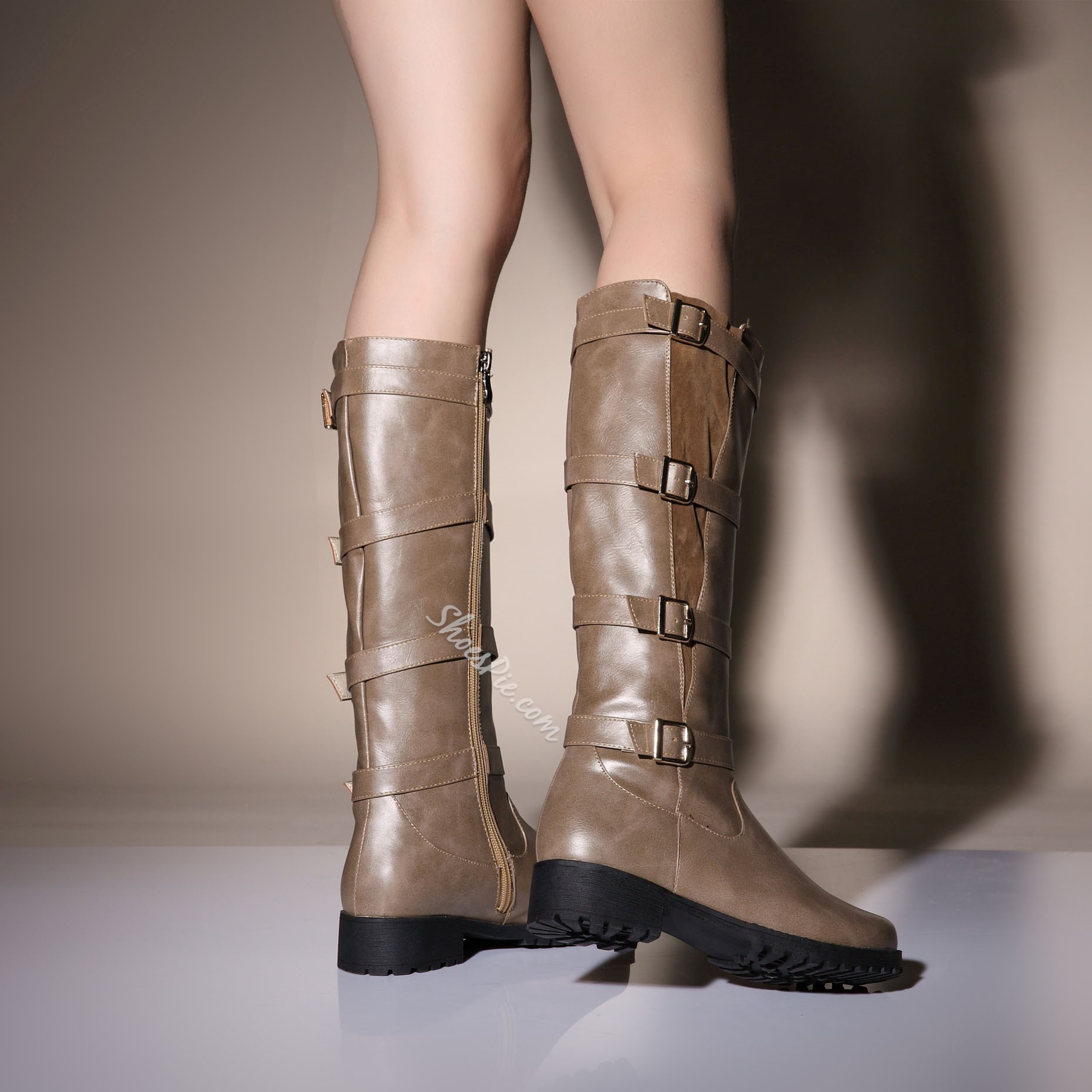 Shoespie Buckles Decoration Flat Knee High Boots