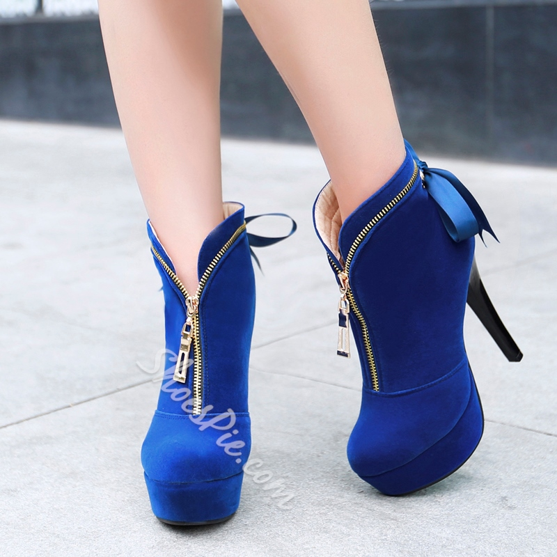 Shoespie Suede Bowtie Stiletto Heel Ankle Boots