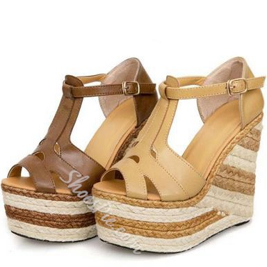 Shoespie Straw T-strap Wedge Sandals