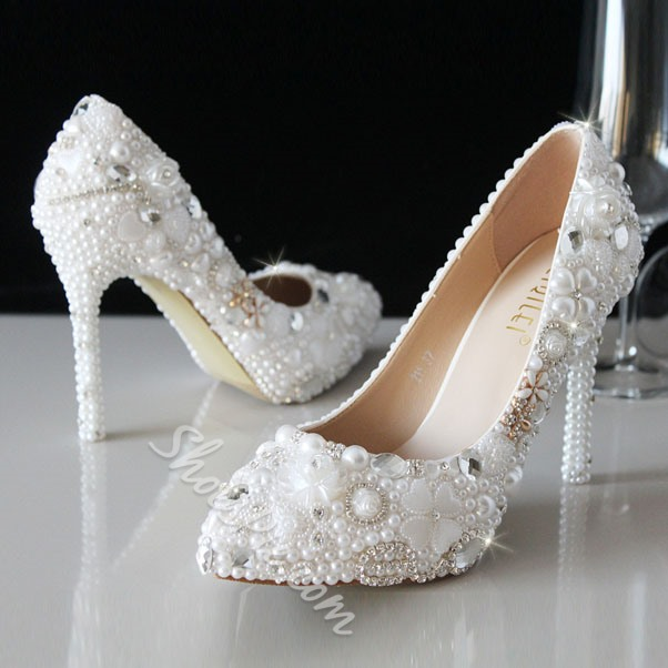 Shoespie Beading Flower Bridal Shoes