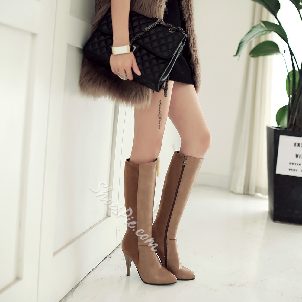 Shoespie Duo Shades Stiletto Heel Knee High Boots
