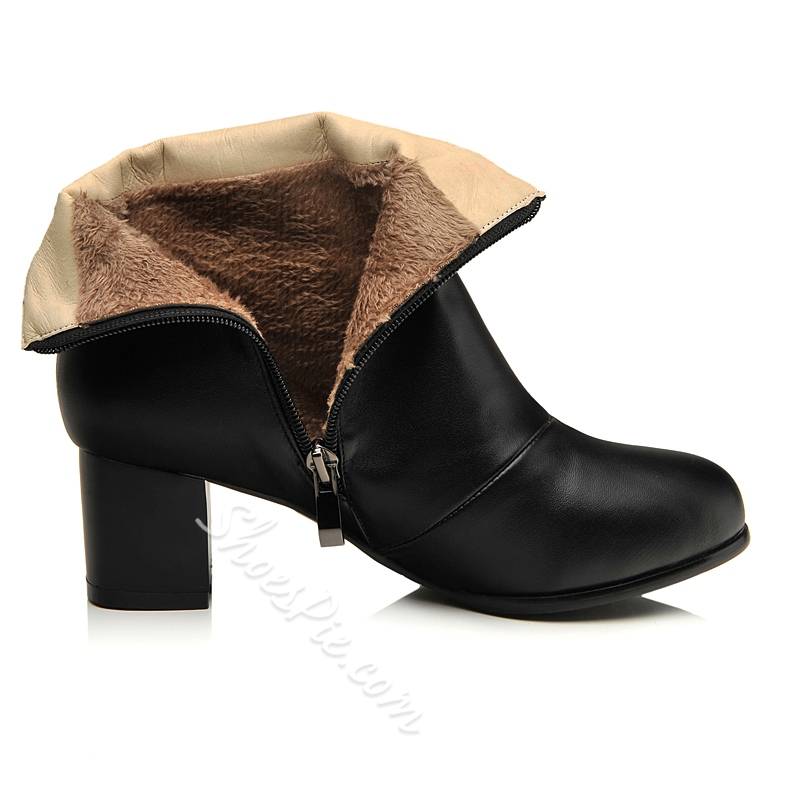 Shoespie Buckle Zipper Chunky Heels Ankle Boots