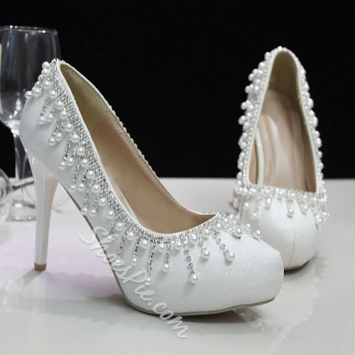 Shoespie Tassels Beading Bridal Shoes