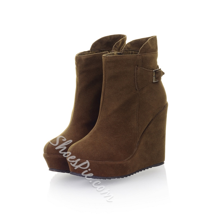 Shoespie Suede Wedge Heel Ankle Boots
