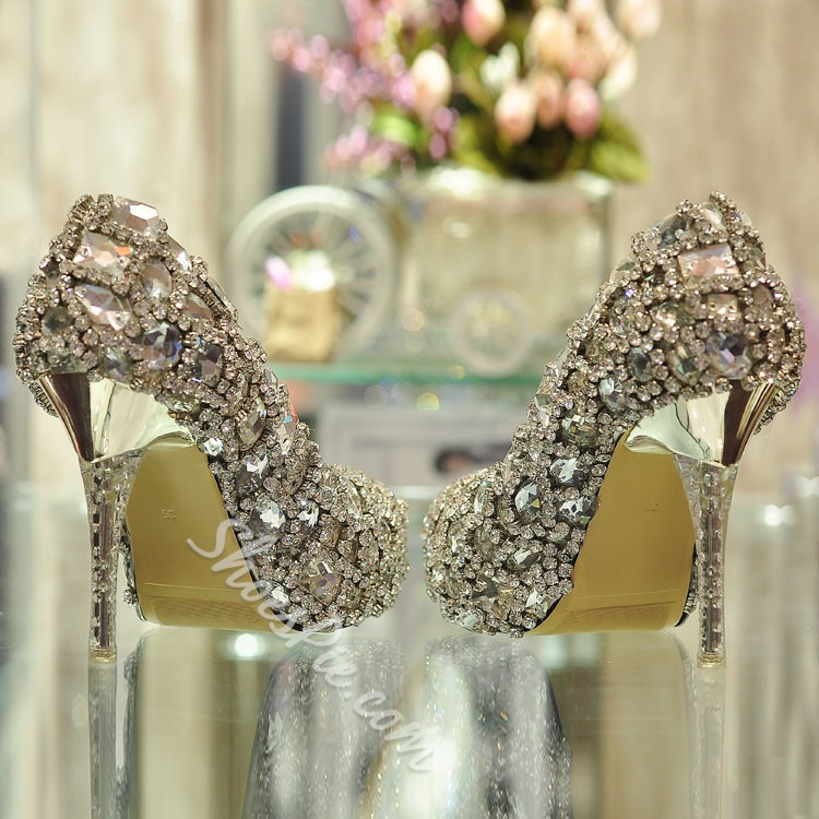Shoespie Rhinestone Decoration Handmade Bridal Shoes
