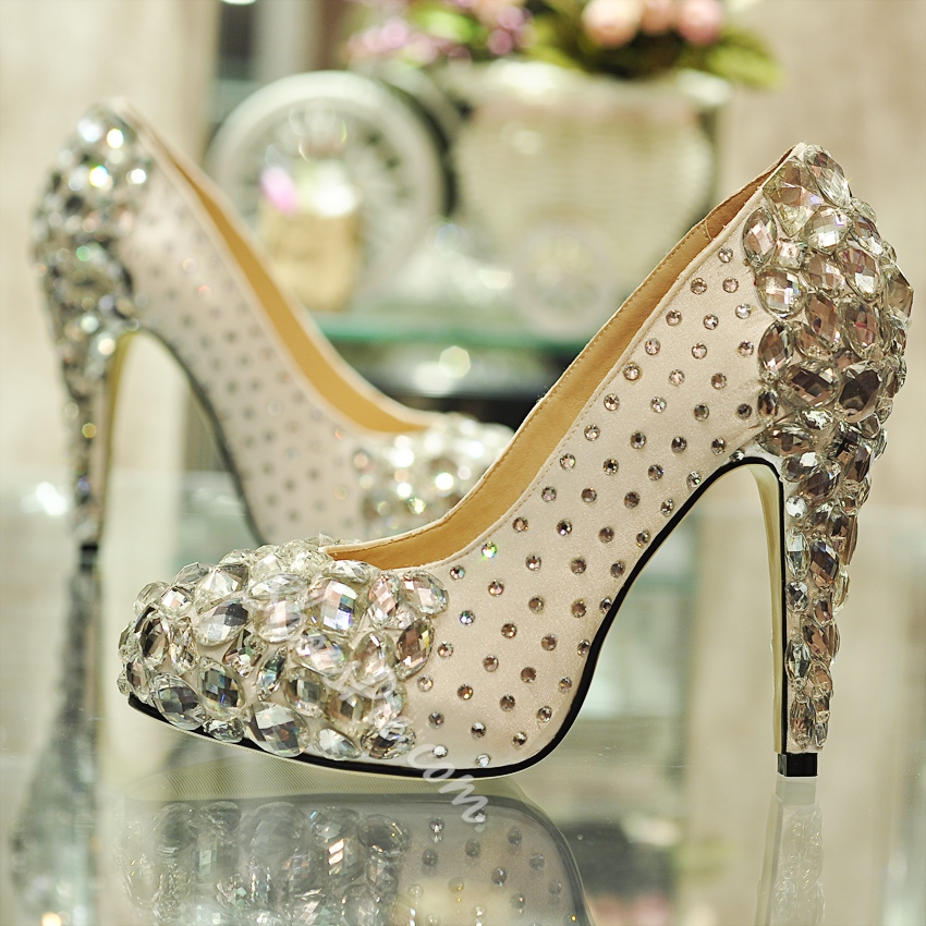 Shoespie White Silk Rhinestone Handmade Bridal Shoes