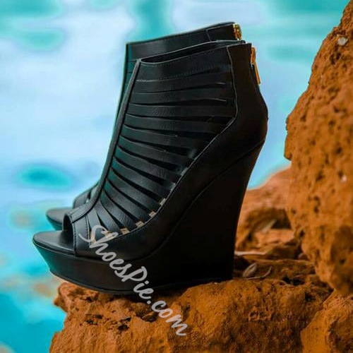 Shoespie Cut-out Zipper Wedge Gladiator Sandals