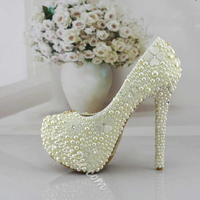 Shoespie Pearl Rhinestone Bridal Shoes