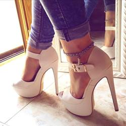 Shoespie Solid Color Buckle Metal Chain Platform Sandals