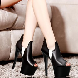 Shoespie Peep Toe Stiletto High Platform Ankle Boots