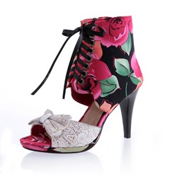 Shoespie Flower Bowtie Lace-up Zipper Dress Sandals