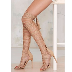 Shoespie Tassel Knee High Zipper Stiletto Sandals