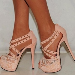 Shoespie Lace Rivet Platform Sandals