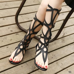 Shospie Solid Color Knee High Flat Sandals