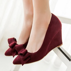 Shoespie Pointed toe Bowtie Wedge Heels