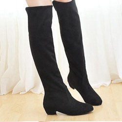Shoespie Round Toe Low Heel Knee High Boots