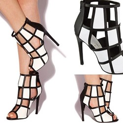 Shoespie Colors Contrast Cut-outs Zipper Stiletto Heels