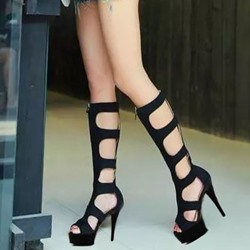 Shoespie Peep Toe Stiletto Heel Knee High Boots