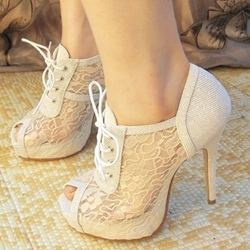 Shospie Lace Lace-up Decorated Platform Sandals