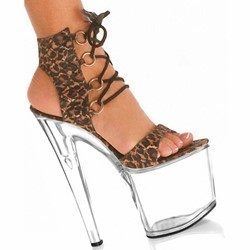 Shoespie Leopard Lace-up Sandals