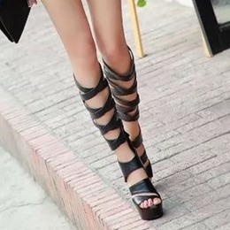 Shoespie Knee High Wrap Dress Sandals