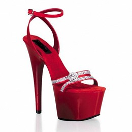 Shoespie Rhinestone Ankle Wrap Platform Sandals