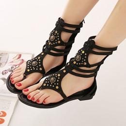 Shoespie Rivet Rhinestone Thong Flat Sandals