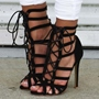 Shoespie Cutout Lace-up Stiletto Sandals