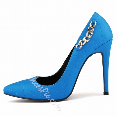 Shoespie Chain Decoration Solid Color Stiletto Heels
