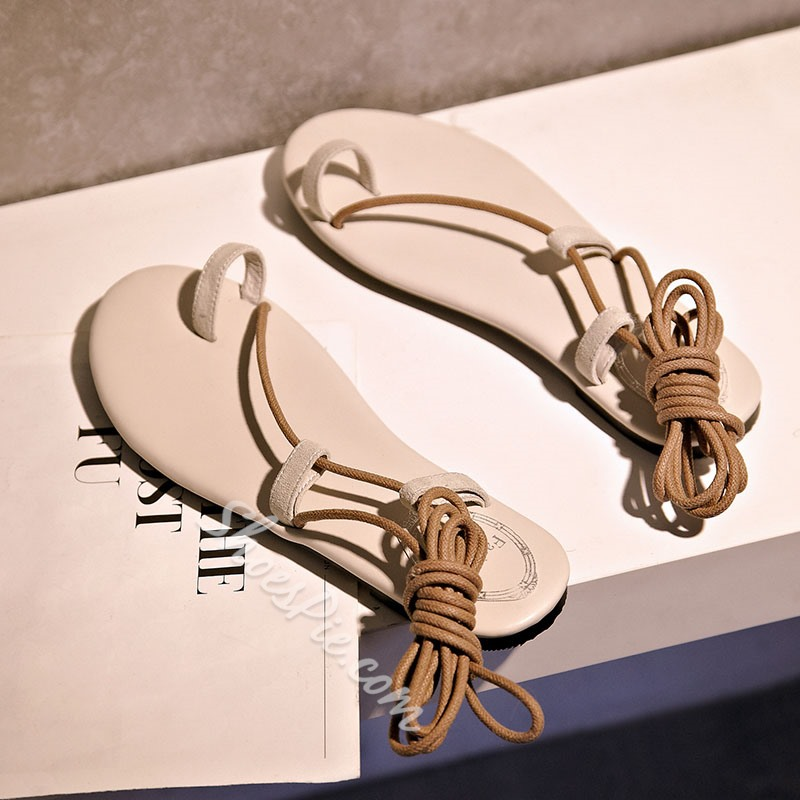 Shospie Lace-up Toe Ring Flat Sandals