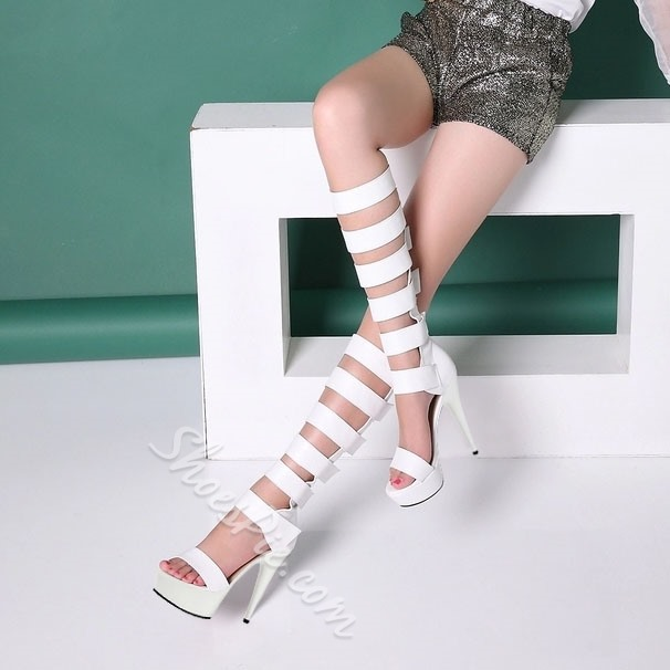Shoespie Solid Color Knee High Platform Sandals