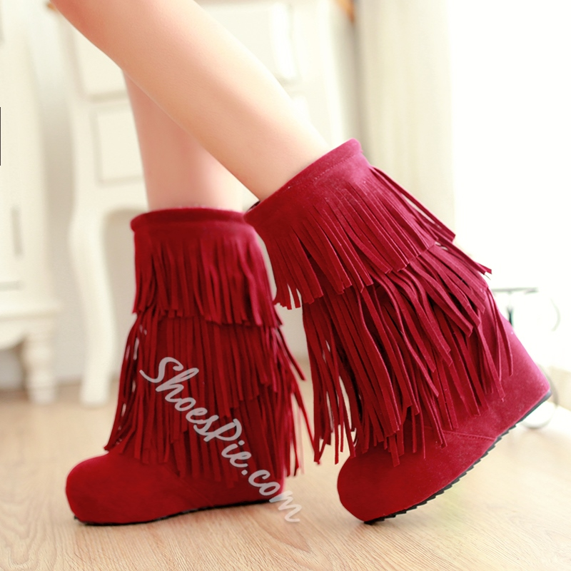 Shoespie Tassel Wedge Heel Mid-shaft Boots
