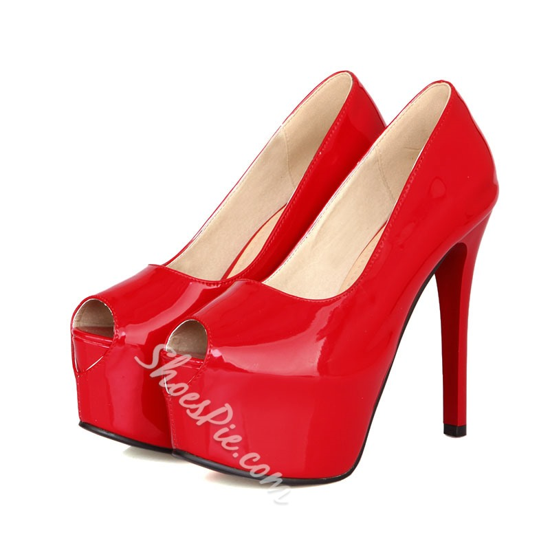 Shoespie Patent Leather Peep-toe Heels