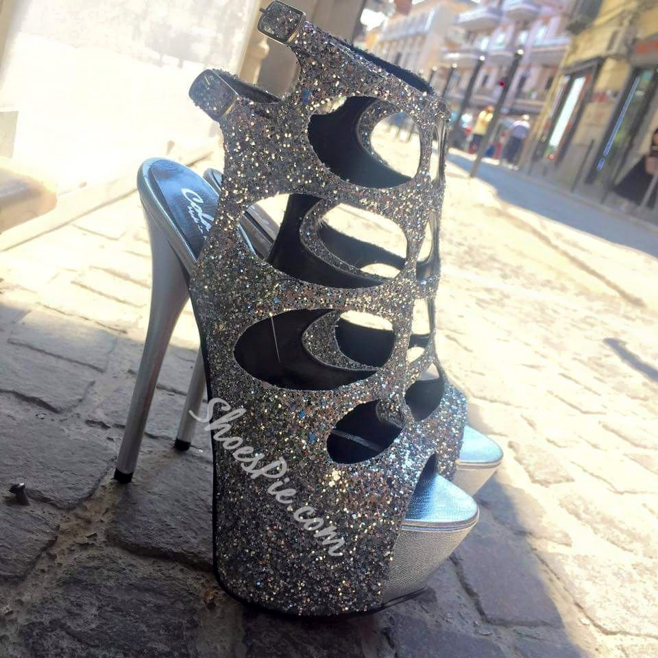 Shoespie Sequined Cut-out Platform Sandals