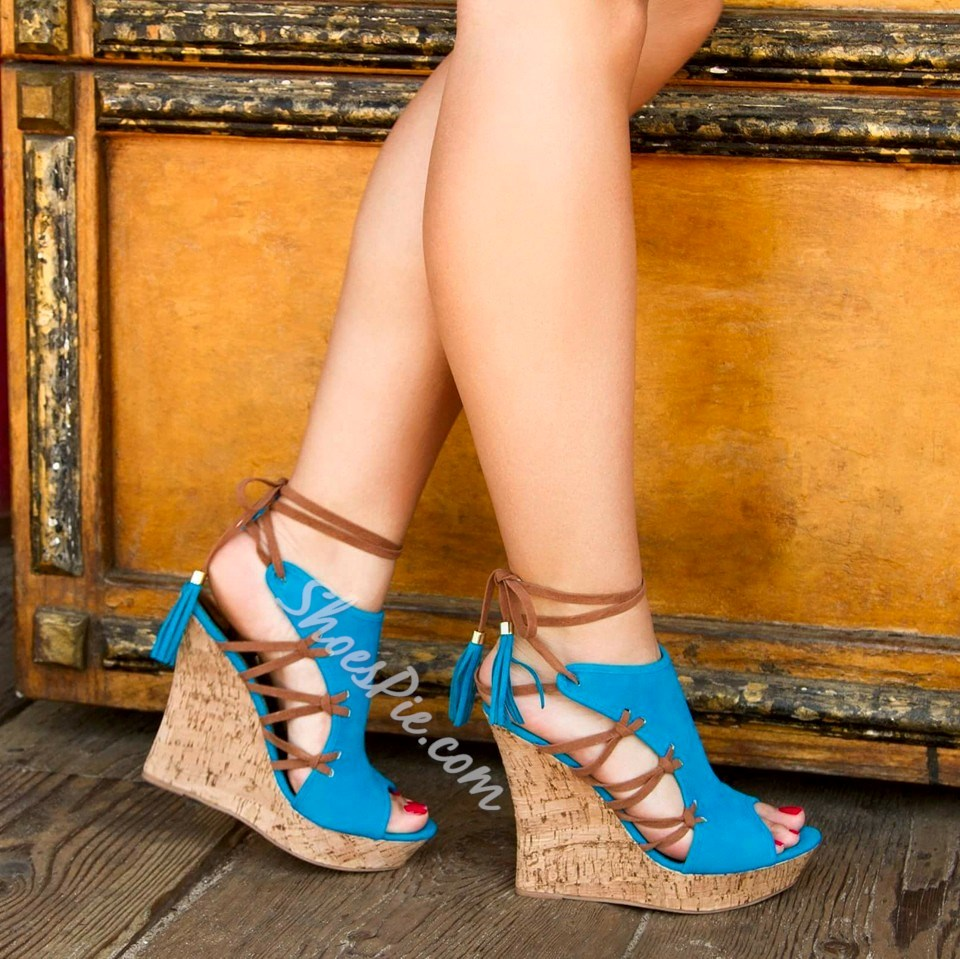 Shoespie Cut-out Ankle Wrap Wedge Sandals