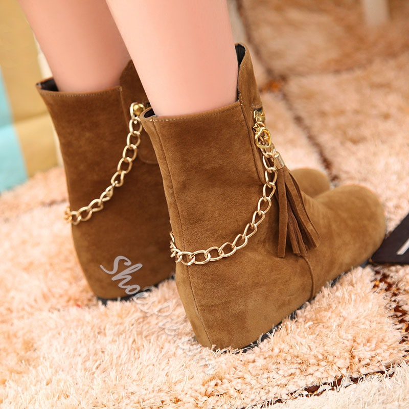 Shoespie Chains Tassels Flat Boots