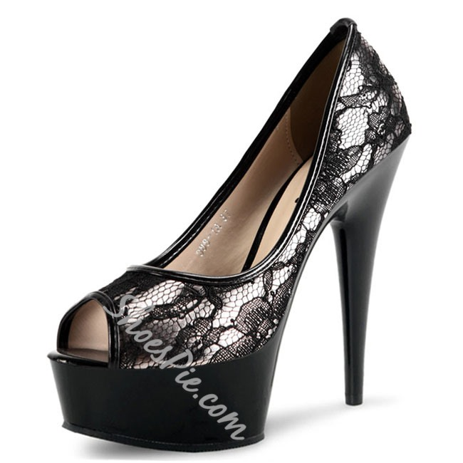 Shoespie Lace Peep-toe Heels