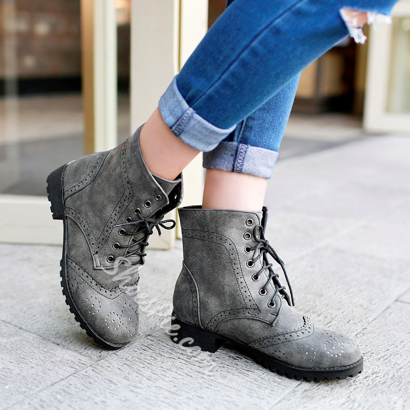 Shoespie Lace-up Flat Boots