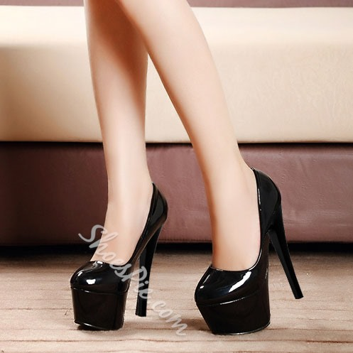 Shoespie Patent Leather Round-toe Platform Heels
