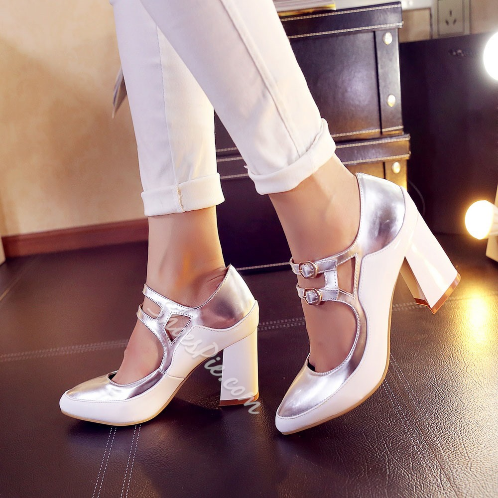 Shoespie Colors Contrast Double Ankle Straps Chuke Heels