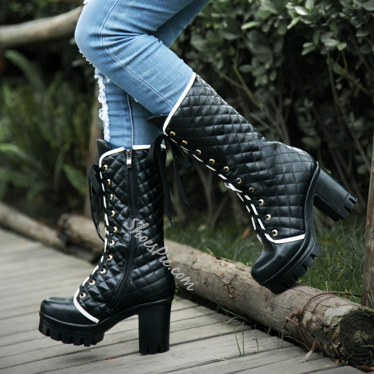 Shoespie Lace Up Mid Sharft Chunky Heel Boots