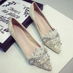 Shoespie Beading Decoration Loafers