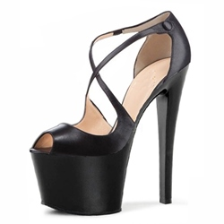 Shoespie Cross Wrap Peep-toe Heels