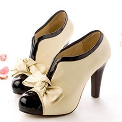 Shoespie Light Apricot Front Bow Appliqued Ankle Boots